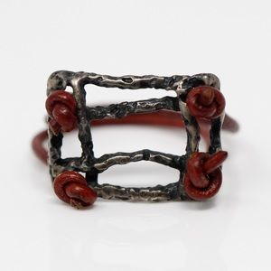 HANDMADE Sterling Red Leather Abstract Ring 8